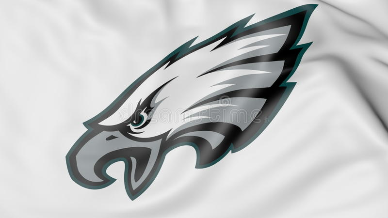 Zakończenie falowanie flaga z philadelphia eagles NFL futbolu amerykańskiego drużyny logem, 3D rendering royalty ilustracja