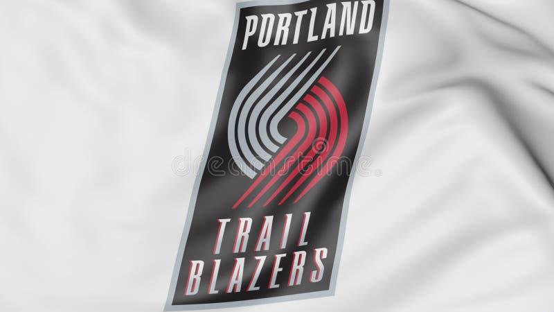 Zakończenie falowanie flaga z Portlandzkim trail blazer NBA drużyny koszykarskiej logem, 3D rendering royalty ilustracja