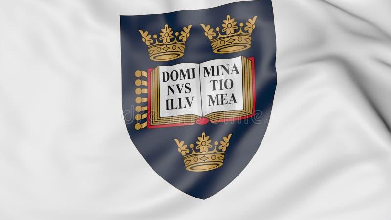 Zakończenie falowanie flaga z uniwersytetem Oxford emblemata 3D rendering royalty ilustracja