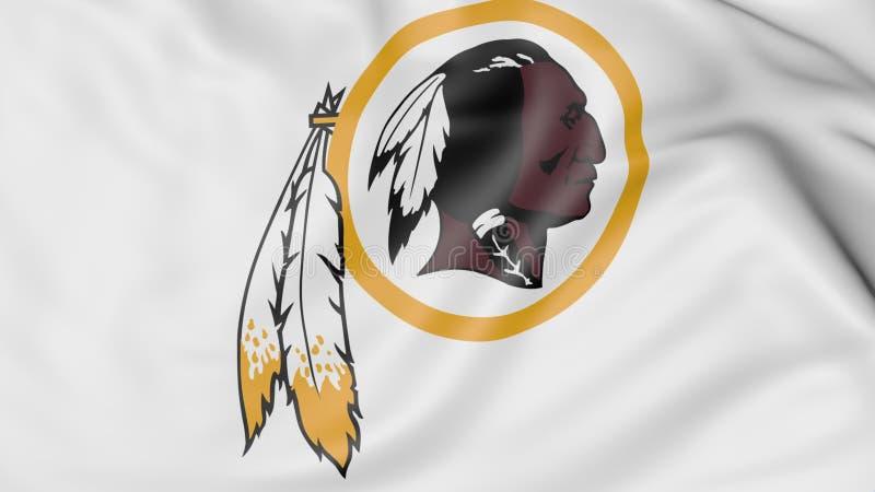 Zakończenie falowanie flaga z washington redskins NFL futbolu amerykańskiego drużyny logem, 3D rendering ilustracja wektor