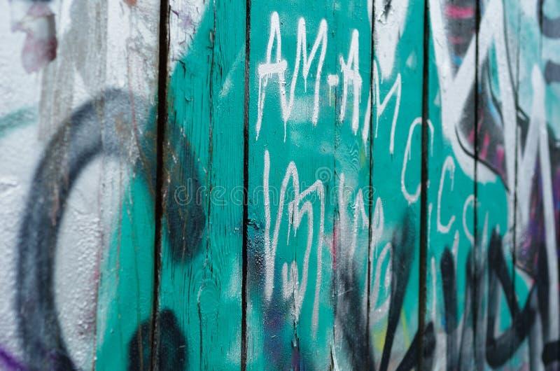 Zakończenie graffiti drewna ściana zdjęcie royalty free