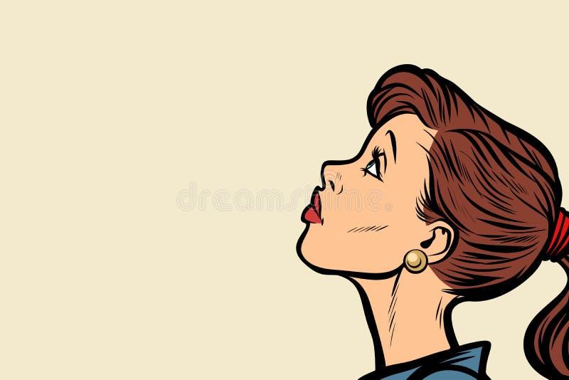 Zakończenie kobiety twarzy profil ilustracji