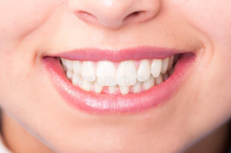 Zakończenie kobiety usta z perfect białymi zębami obrazy royalty free