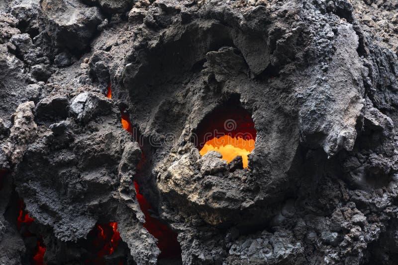 Zakończenie lawowy przepływ wulkan Kilauea na Hawaje zdjęcie royalty free