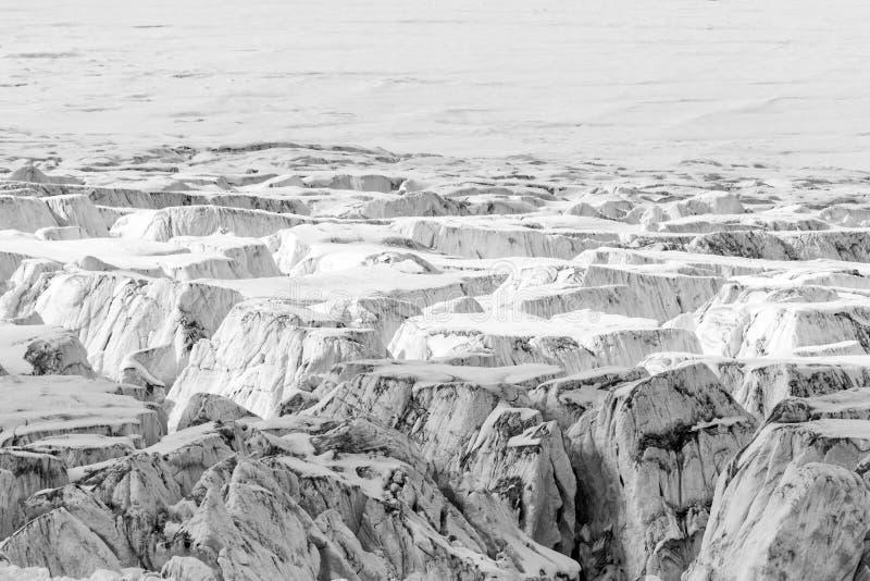 Zakończenie lodowiec z Crevasses obrazy stock