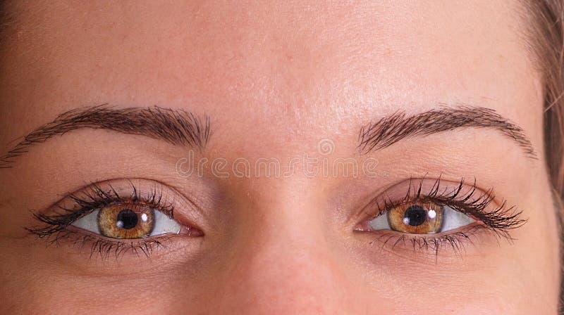 Zakończenie młoda kobieta z jaskrawymi oczami obraz royalty free