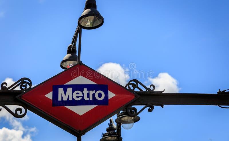 Zakończenie Madryt metra znak obraz royalty free