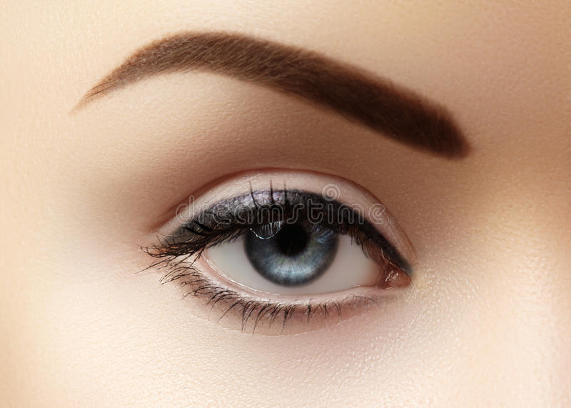 Zakończenie makro- piękny żeński oko z perfect kształt brwiami Czysta skóra, mody naturel makijaż Dobry wzrok fotografia stock