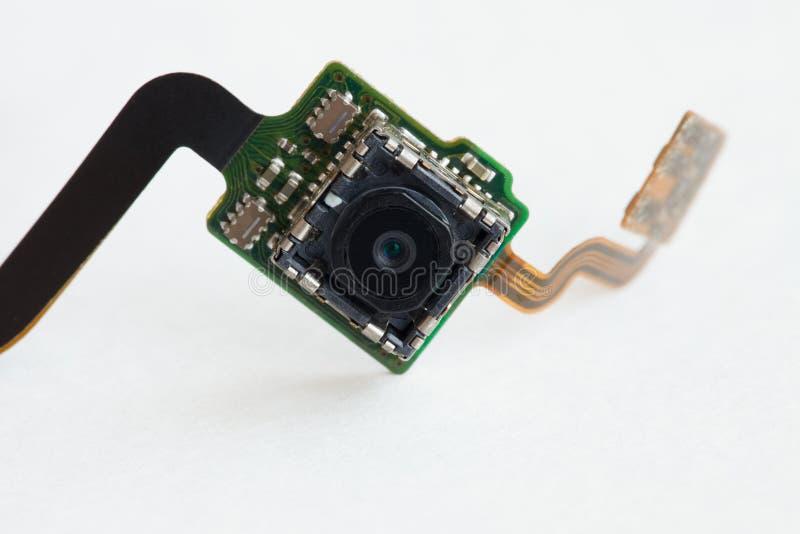 Zakończenie mobilna kamera na elektronicznej desce zdjęcie royalty free
