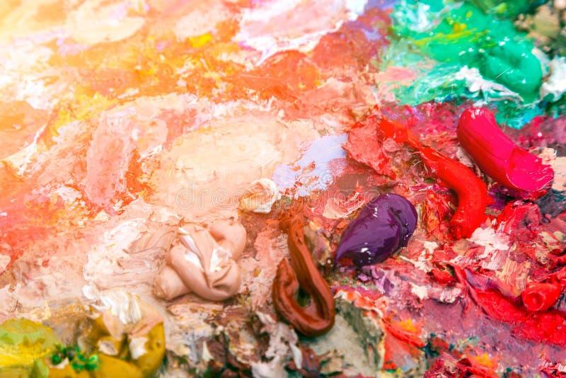 Zakończenie nafciane farby na palecie fotografia royalty free