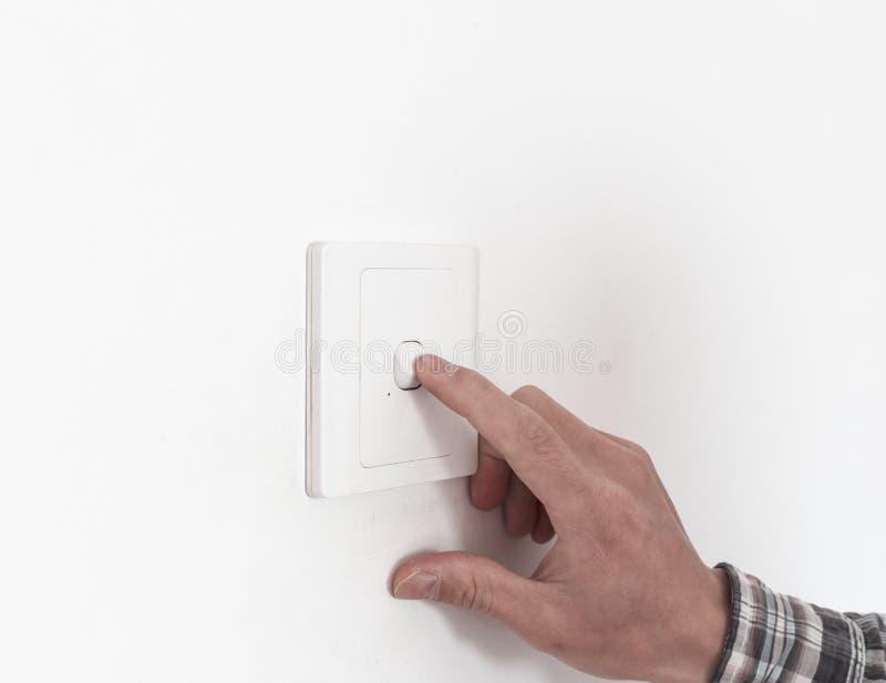 Zakończenie palec up obraca dalej daleko na lekkiej zmianie lub kosmos kopii zdjęcie royalty free