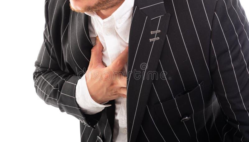 Zakończenie pokazuje klatka piersiowa bólu gest biznesowy mężczyzna fotografia royalty free