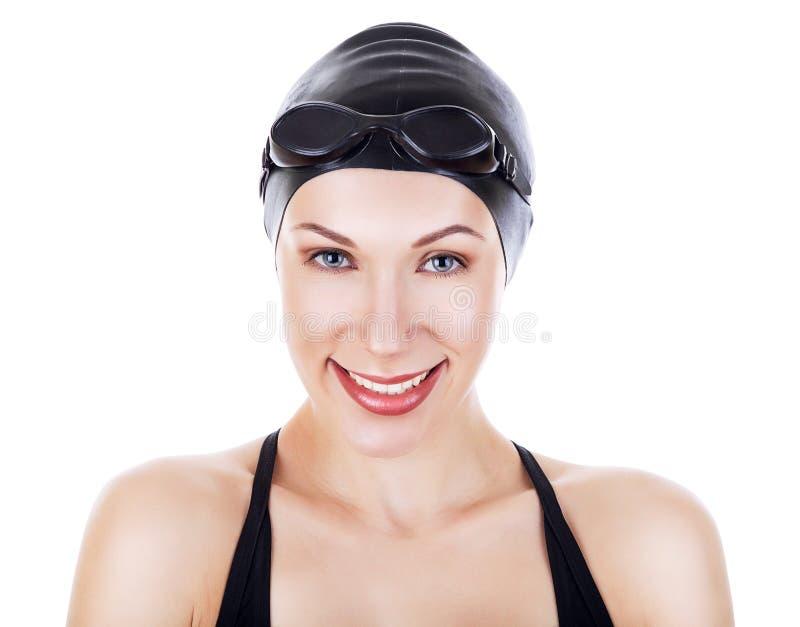Zakończenie portret śliczna uśmiechnięta pływaczka zdjęcie stock