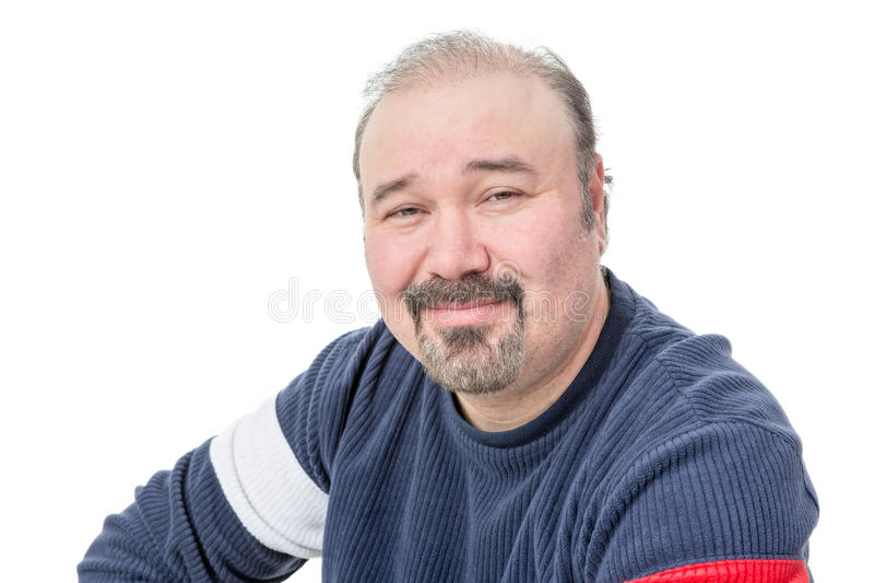 Zakończenie portret życzliwego łysienia dojrzały mężczyzna obrazy stock