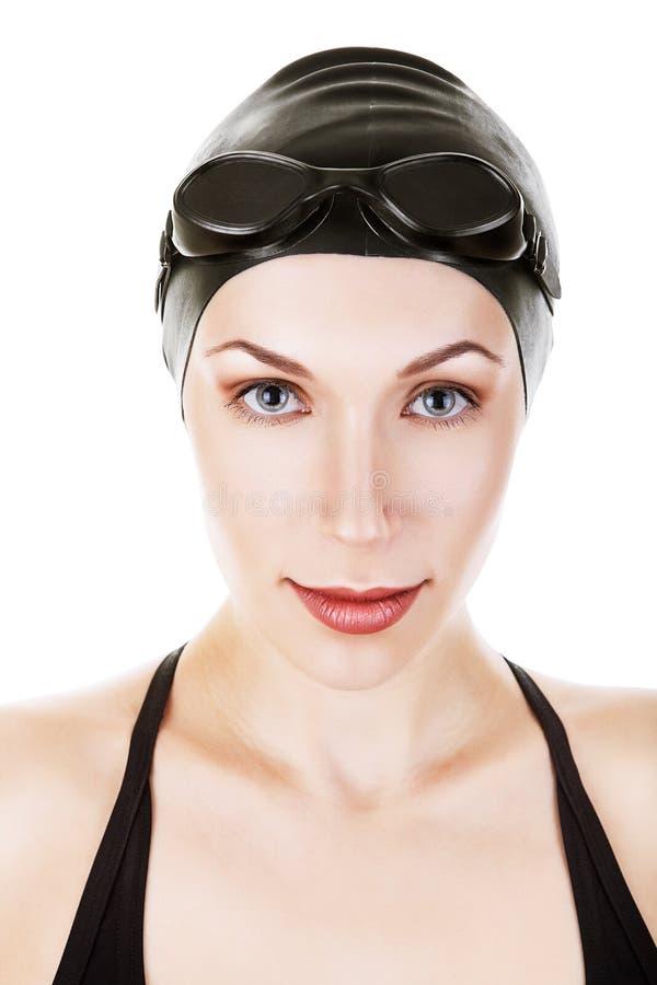 Zakończenie portret pływaczka w czarnym kostiumu zdjęcia stock