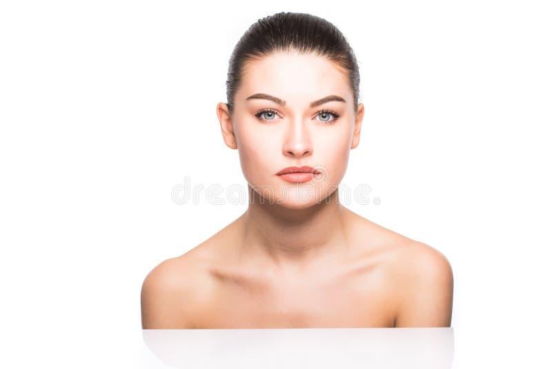 Zakończenie portret piękna, świeża, zdrowa i zmysłowa dziewczyna, zdjęcia stock