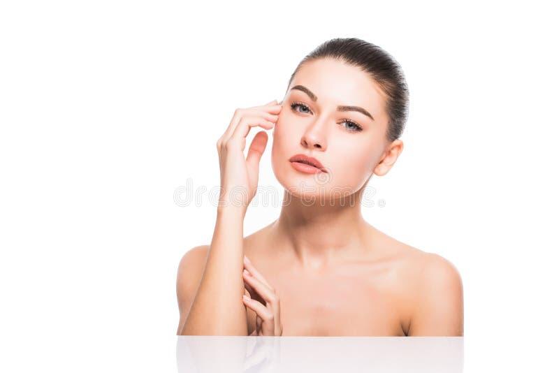 Zakończenie portret piękna, świeża, zdrowa i zmysłowa dziewczyna, zdjęcie stock