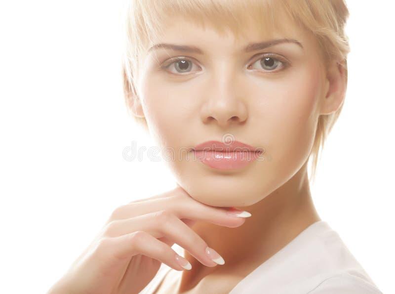 Zakończenie portret piękny młoda kobieta model zdjęcia royalty free