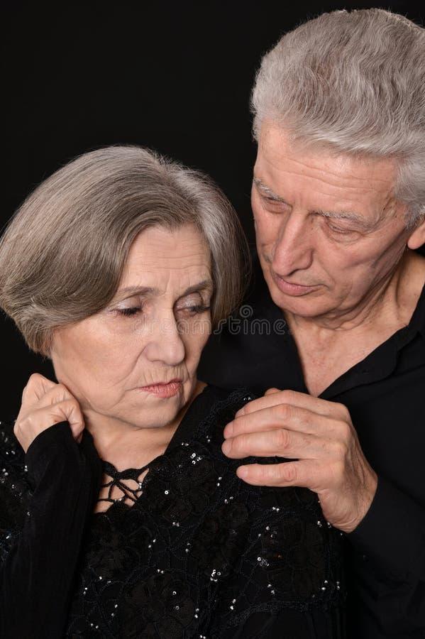Zakończenie portret smutna starszej osoby para fotografia royalty free