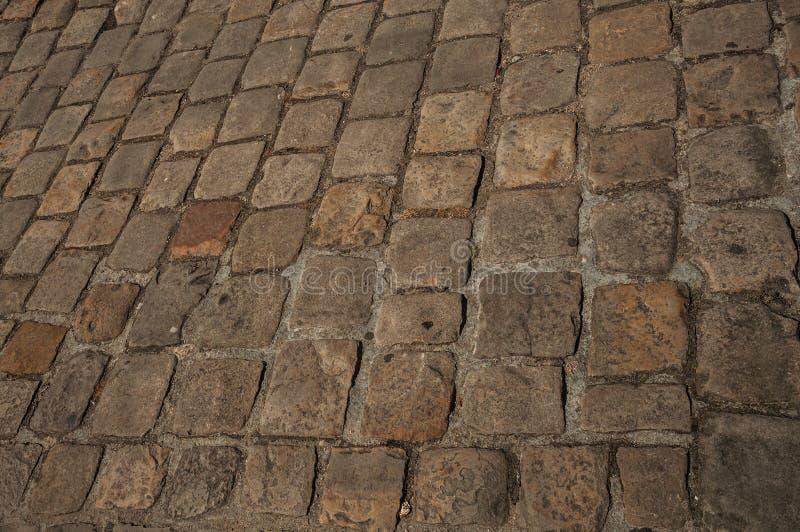 Zakończenie robić kamieni bloki w Paryż uliczny bruk fotografia stock