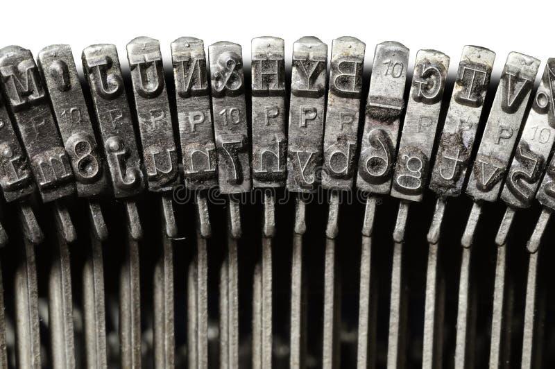 Zakończenie rocznika maszyna do pisania symbolu & listu klucze obrazy royalty free