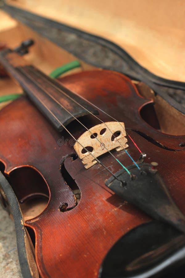 Zakończenie skrzypce w rocznika stylu zdjęcia royalty free