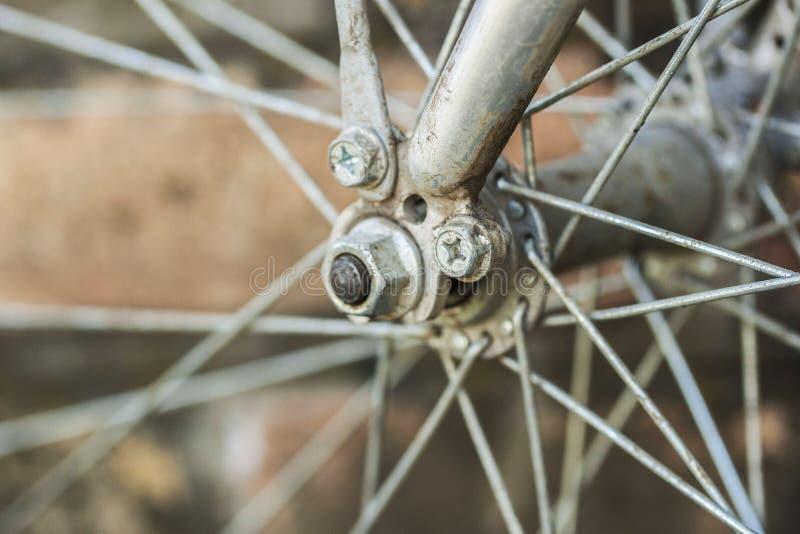 Zakończenie szczegół koło na rocznika bicyklu obrazy stock