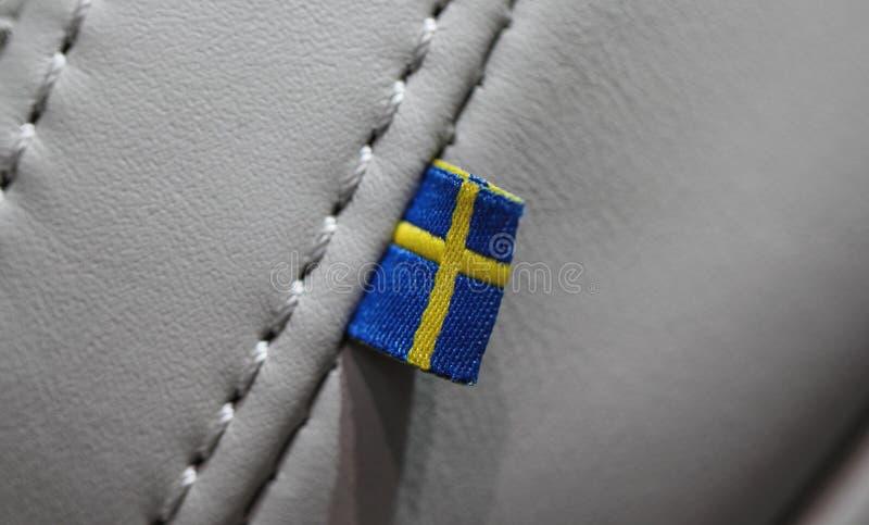 Zakończenie szwedzi up zaznacza na samochodowym siedzeniu zdjęcia stock