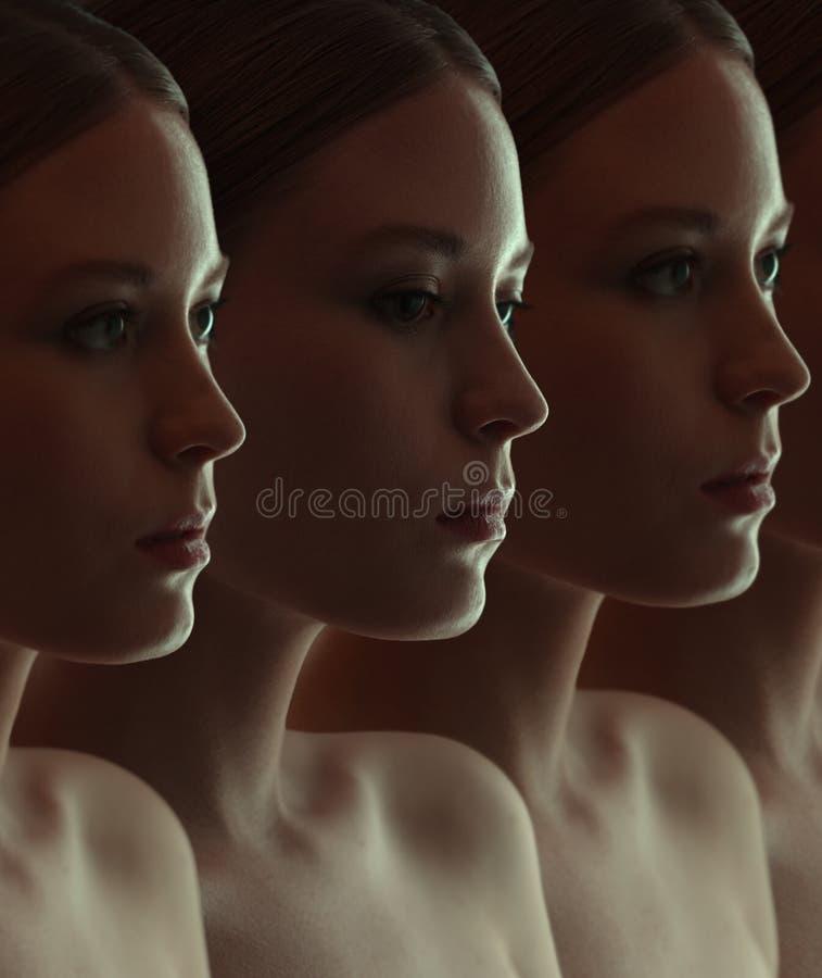 Zakończenie twarz piękne robot dziewczyny Zmroku grupowy portret zdjęcie royalty free