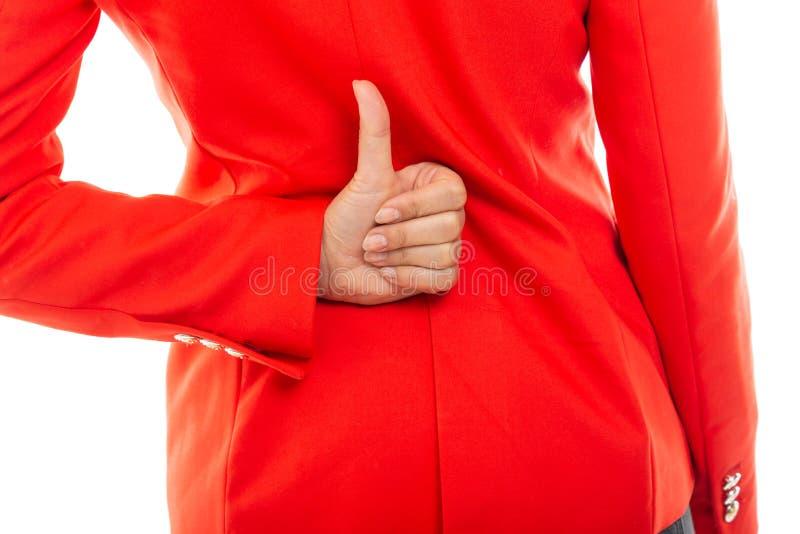 Zakończenie tylny widok pokazuje jak gest biznesowa kobieta zdjęcia royalty free