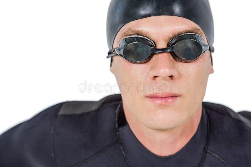 Zakończenie ufna pływaczka w wetsuit obrazy stock