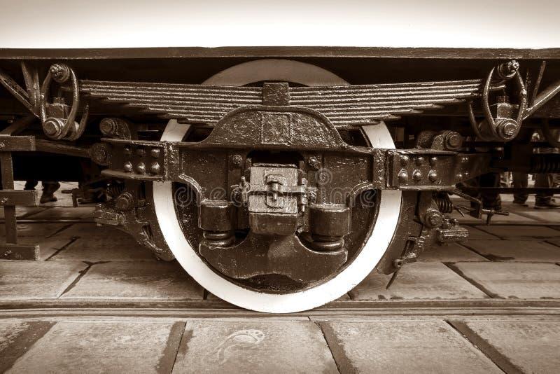 Zakończenie undercarriage retro tramwaj obrazy stock