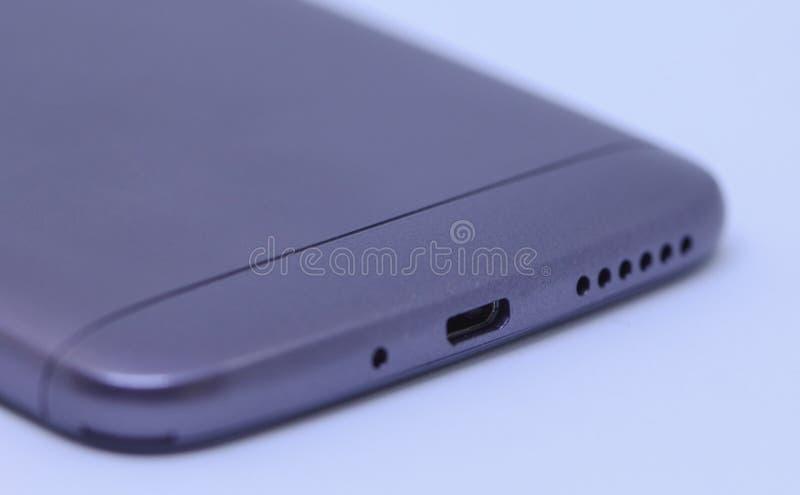 Zakończenie up ładuje port androidu telefon komórkowy fotografia stock