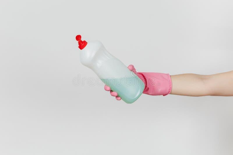 Zakończenie up żeńska ręka z miejscem dla teksta odizolowywającego na białym tle cleaning dostaw pojęcie Odbitkowa astronautyczna obraz royalty free