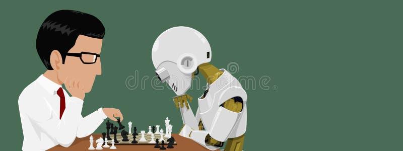 Zakończenie up biznesmen, robot i bawić się szachy ilustracja wektor