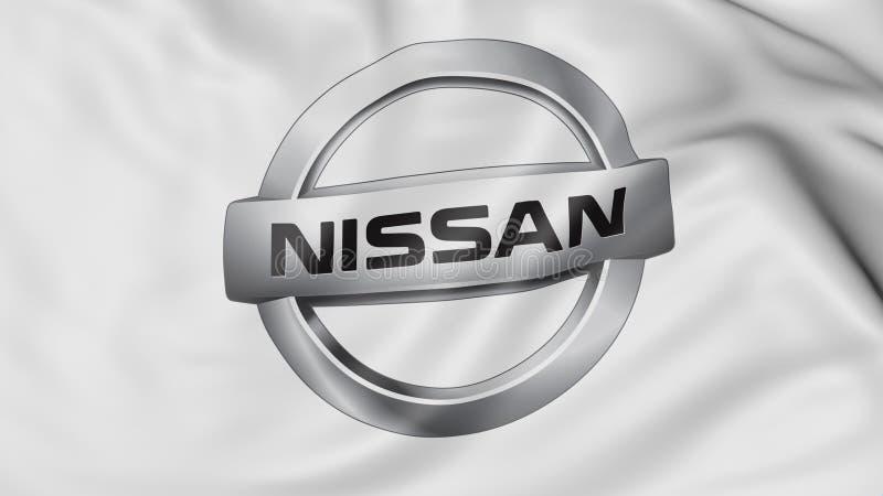 Zakończenie up falowanie flaga z Nissan logem, 3D rendering royalty ilustracja