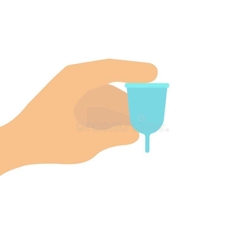 Zakończenie up kobiety ręka trzyma menstrual filiżankę Zdrowia pojęcie, zero jałowe alternatywy ilustracja wektor