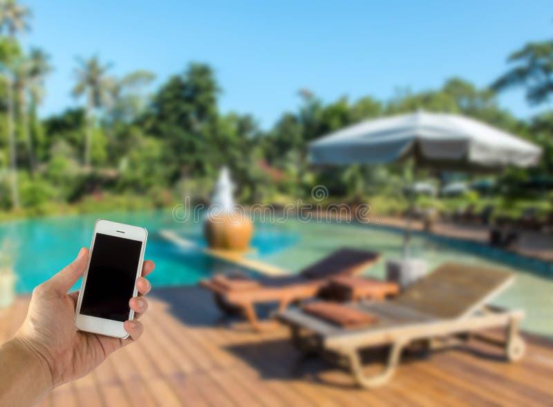 Zakończenie up Męska ręka Trzyma Mądrze telefon komórkowego z Pustym ekranem na plama Pływackim basenie z Różnorodnym drzewem w l obrazy royalty free