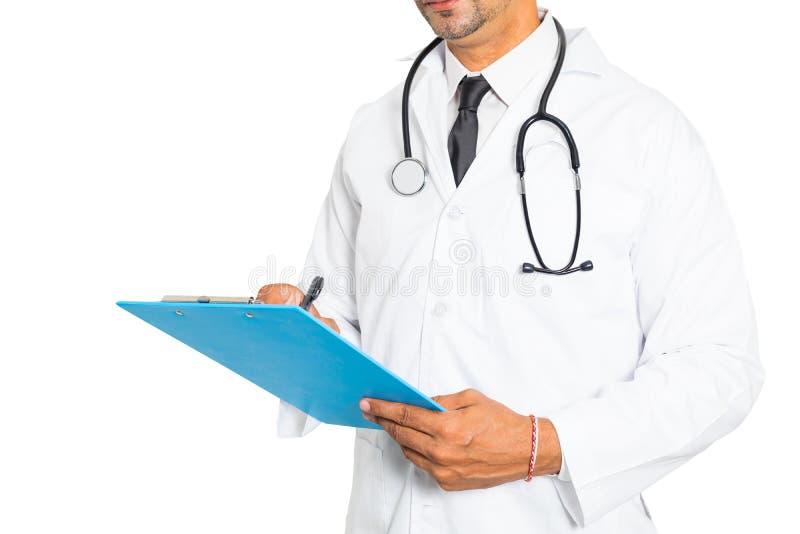 Zakończenie up męski medycyny lekarki writing na schowku Medyczny i opieka zdrowotna pojęcie obrazy stock