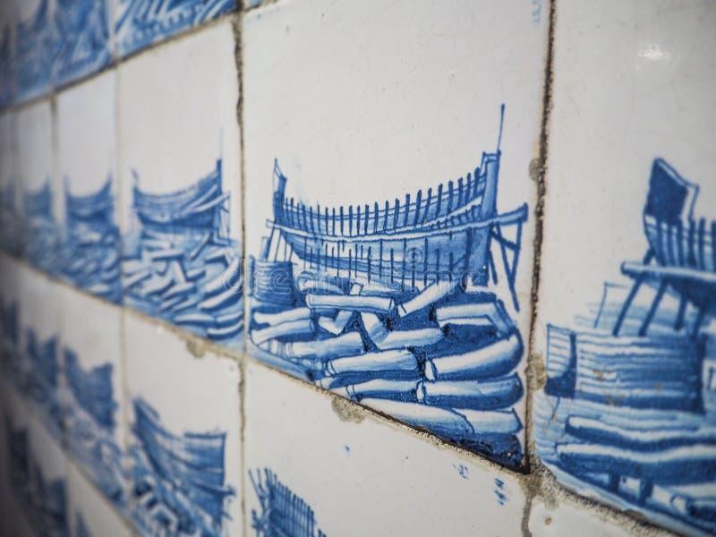 Zakończenie up stare Holenderskie glazurować Delft ściany płytki, Delft, Nether zdjęcia royalty free
