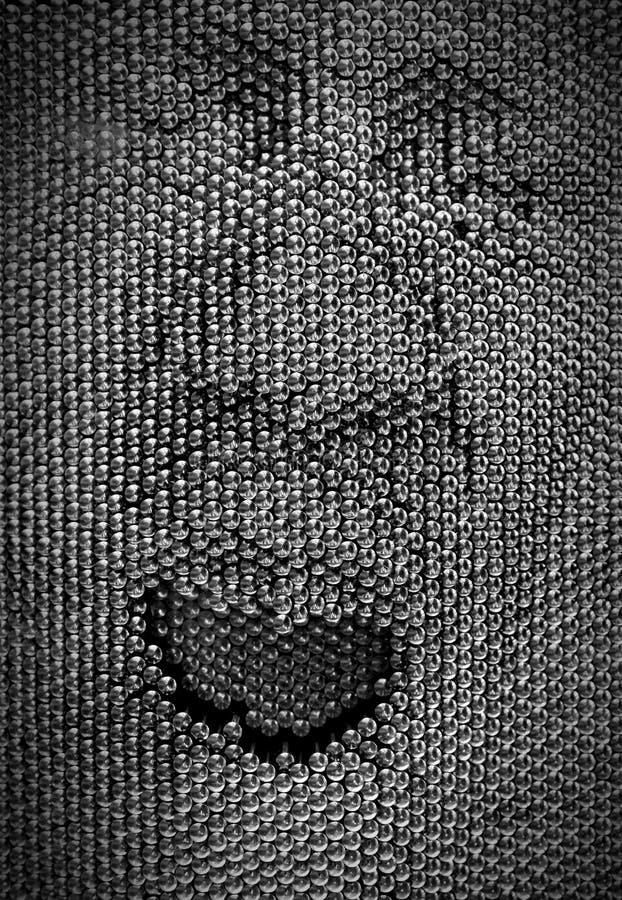 Zakończenie up twarzy ludzkiej pojęcie robić od szpilki deski zabawki obraz stock