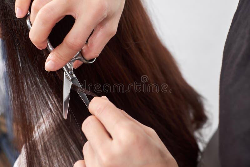 Zakończenie włosiany stylista ciie włosy kobieta zdjęcie stock