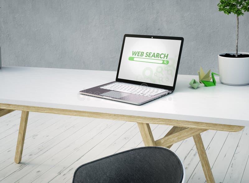 Zakończenie w górę biurka z sieci rewizją na i laptopem ekranie i krześle na rocznik białej drewnianej podłodze i lampie przy świ ilustracji