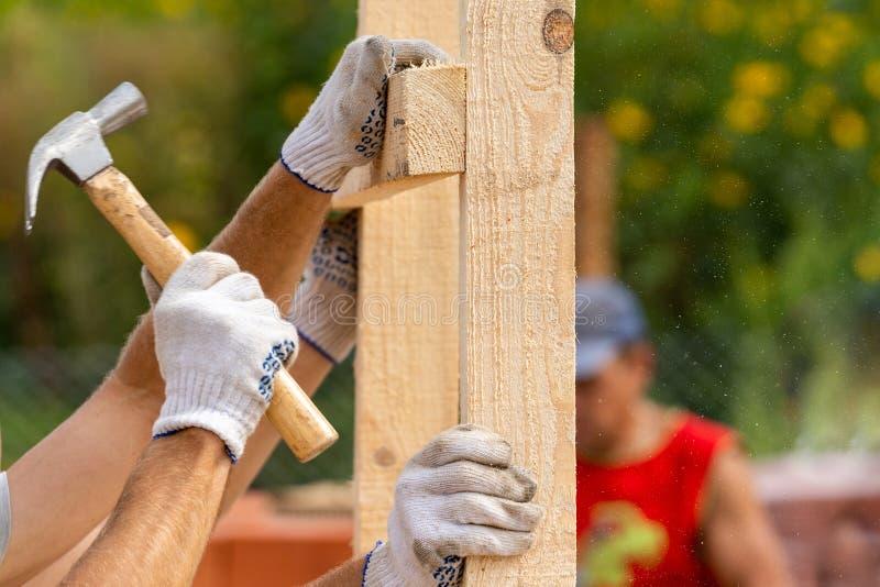Zakończenie w górę cropped fotografii dwa mężczyzn mienia deski deska instaluje specjalną domowego chwyta budowę ręcznie używać m zdjęcie royalty free