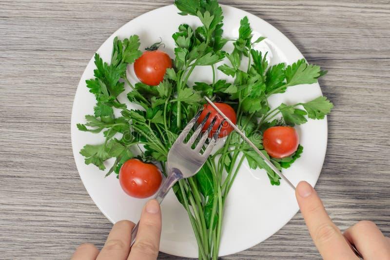 Zakończenie w górę odgórnego widoku fotografii kobiety ` s wręcza rżniętego czereśniowego pomidoru na pl zdjęcia stock
