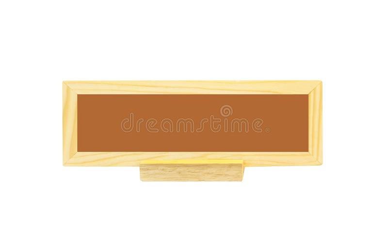 Zakończenie w górę pustego nowożytnego naturalnego wzoru drewna znaka dla kłaść na stole odizolowywającym na białym tle z ścinek  zdjęcia stock