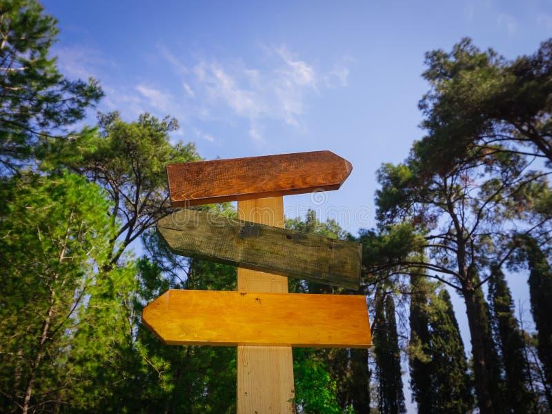 Zakończenie w górę pustej drogi śpiewa na lasowym tle Rady i informacji pojęcie Kolorowi drewniani signboards zdjęcie royalty free