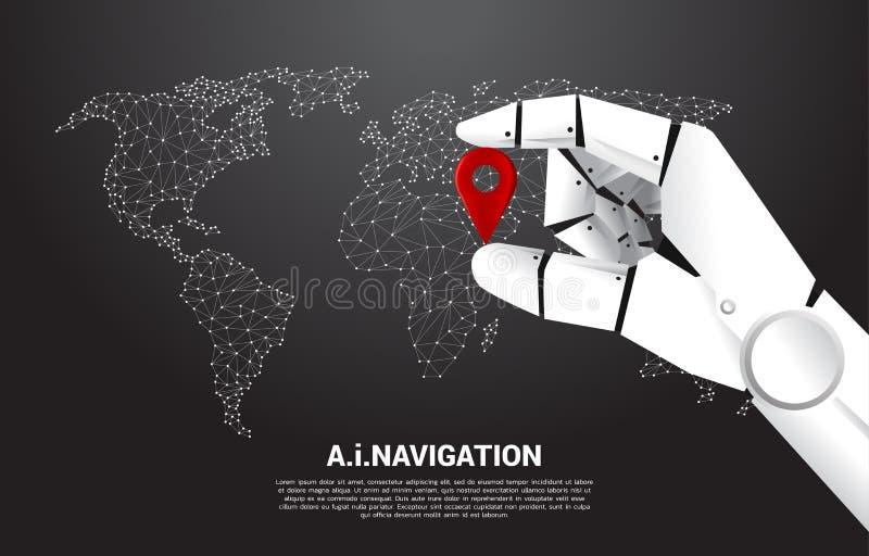 Zakończenie w górę ręki robota chwyta lokacji szpilki markier przed światową mapą ilustracji