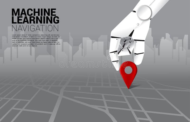 Zakończenie w górę ręki robota miejsca lokacji szpilki markier na mapie drogowej ilustracji