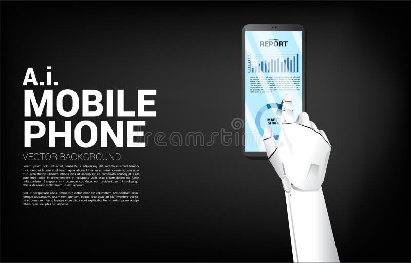 Zakończenie w górę robot ręki dotyka biznesowego wykresu raportu w telefonie komórkowym royalty ilustracja